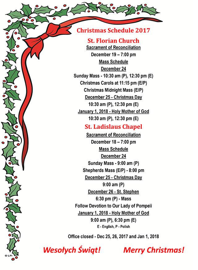 Christmas Schedule 2017
