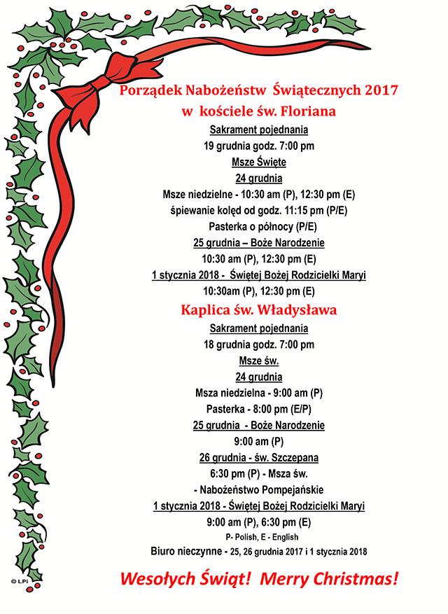 Porządek Nabożeństw Świątecznych 2017