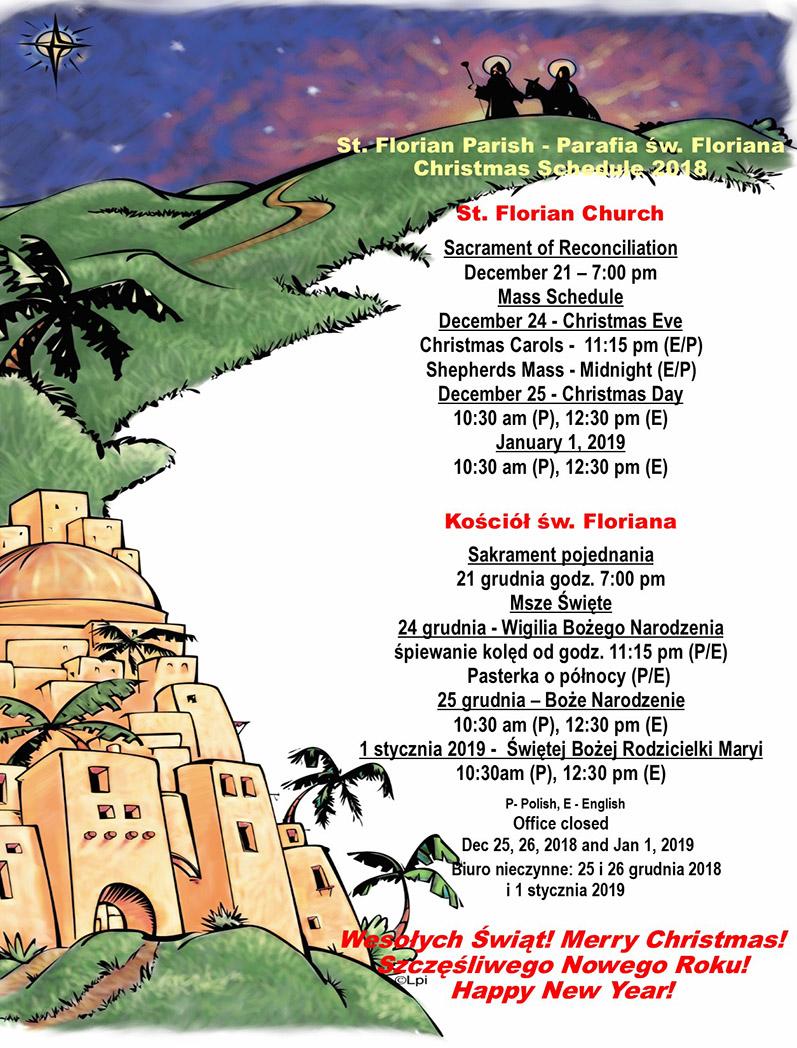 St.Florian Christmas Schedule 2018