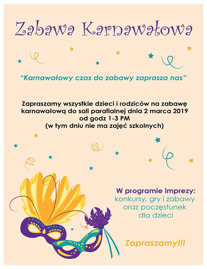 Plakat Bal Karnawałowy