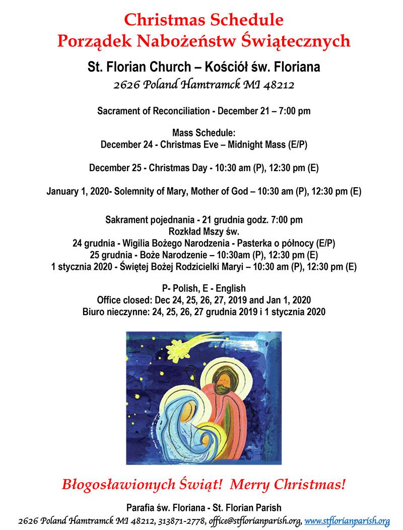 Church Office Closed For Christmas 2020 Christmas Schedule – St. Florian Church – Saint Florian Roman