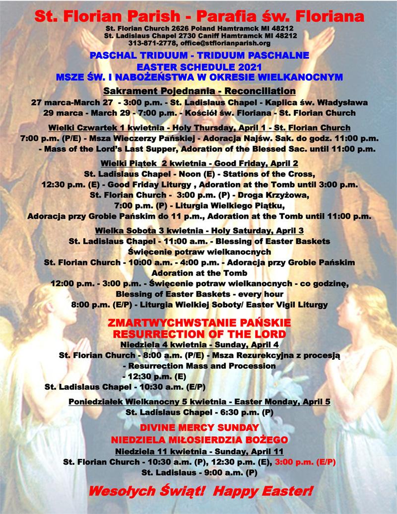 Msze Św. I Nabożeństwa W Okresie Wielkanocnym